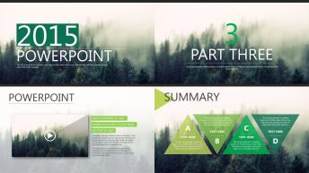 绿色大气杂志风实用商务报告模板