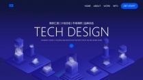 蓝色科技互联网公司企业工作总结PPT