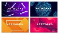 【抽象艺术】简约商务总结计划通用模板(含四套)