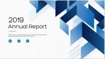 创意几何现代商务蓝色总结报告工作计划模板