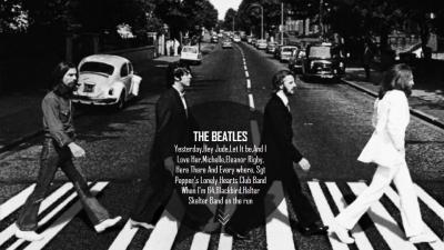 【the beatles】黑白涂鸦摇滚风音乐模板