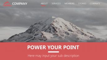 【高端大气】巨峰之巅红色高级灰自然风格商务报告模板