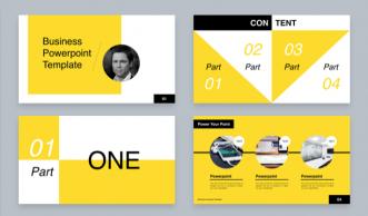 黄黑白海报风格PPT模板