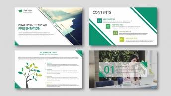 欧美清新风系列10:黄绿配色扁平化商务实用PPT模