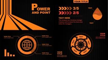 橙黑色扁平化简约商务模板