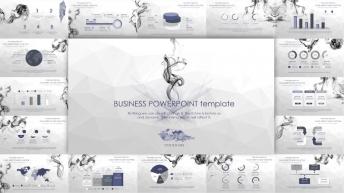 【静态】创意烟雾紫色商务工作总结计划模板