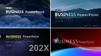 【静谧蓝色】简约简洁大气商务计划年终模版【含4套】