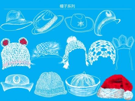 帽子系列手绘素材         13个原创手绘素描帽子,可以用在照片的创意
