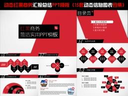 动态红黑商务汇报总结PPT模板+15套动态信息图表