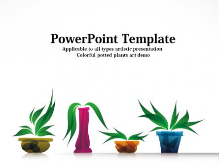 ppt模板 文化艺术ppt模板 多彩盆栽植物艺术ppt模板  像蚂蚁一样工作