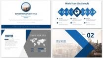 蓝色画册级别商务汇报PPT模板示例4