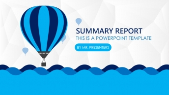 热气球的漂流-清新蓝色系扁平化-总结汇报模板